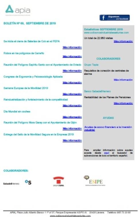 Federación de Polígonos Industriales de Asturias - Boletín nº 69, septiembre 2019 - Federación de Polígonos Industriales de Asturias