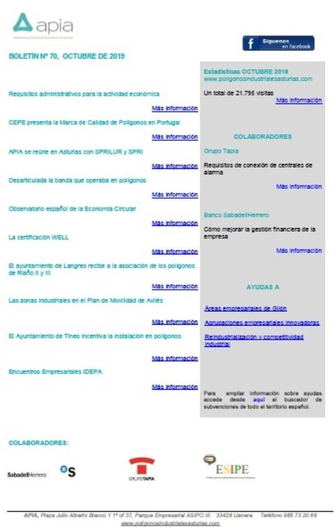 Federación de Polígonos Industriales de Asturias - Boletín nº 70, octubre 2019 - Federación de Polígonos Industriales de Asturias