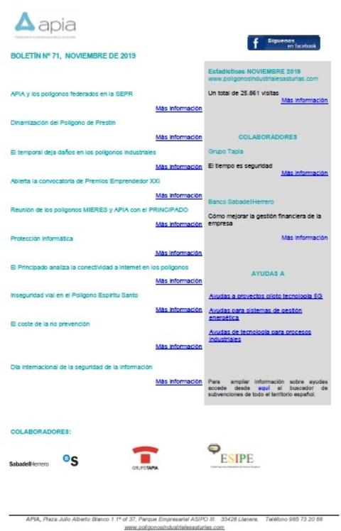 Federación de Polígonos Industriales de Asturias - Boletín nº 71, noviembre 2019 - Federación de Polígonos Industriales de Asturias