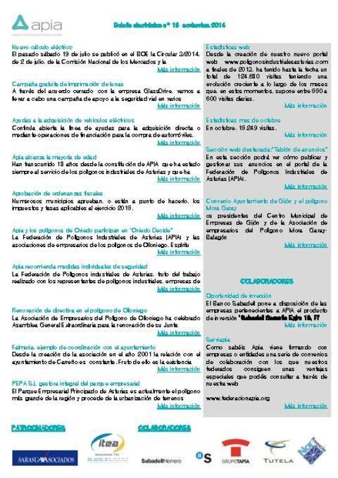 Federación de Polígonos Industriales de Asturias - Boletín nº 16 noviembre de 2014 - Federación de Polígonos Industriales de Asturias