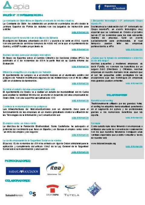 Federación de Polígonos Industriales de Asturias - Boletín nº 17 noviembre de 2014 - Federación de Polígonos Industriales de Asturias