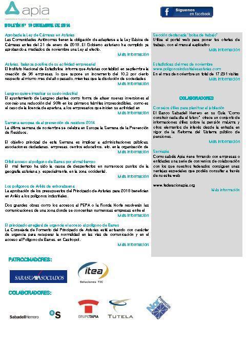 Federación de Polígonos Industriales de Asturias - Boletín nº 18 diciembre de 2014 - Federación de Polígonos Industriales de Asturias