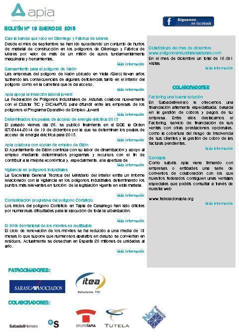 Federación de Polígonos Industriales de Asturias - Boletín nº 19 enero de 2015 - Federación de Polígonos Industriales de Asturias
