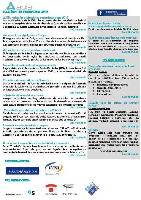 Federación de Polígonos Industriales de Asturias - Boletín nº 20 febrero de 2015 - Federación de Polígonos Industriales de Asturias