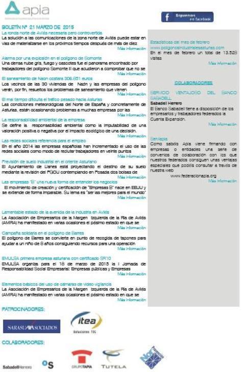 Federación de Polígonos Industriales de Asturias - Boletín nº 21 marzo de 2015 - Federación de Polígonos Industriales de Asturias
