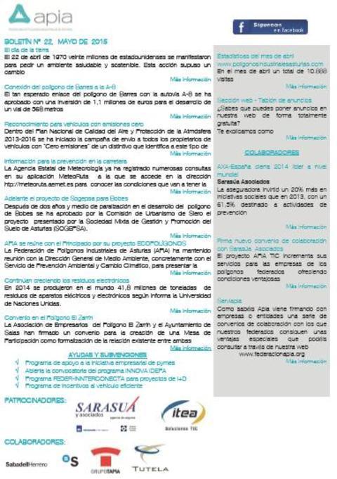 Federación de Polígonos Industriales de Asturias - Boletín nº 22 mayo de 2015 - Federación de Polígonos Industriales de Asturias