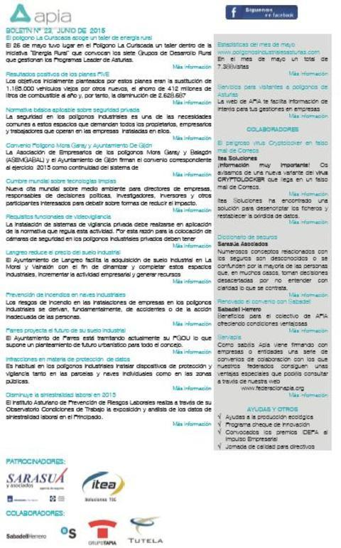 Federación de Polígonos Industriales de Asturias - Boletín nº 23 junio de 2015 - Federación de Polígonos Industriales de Asturias