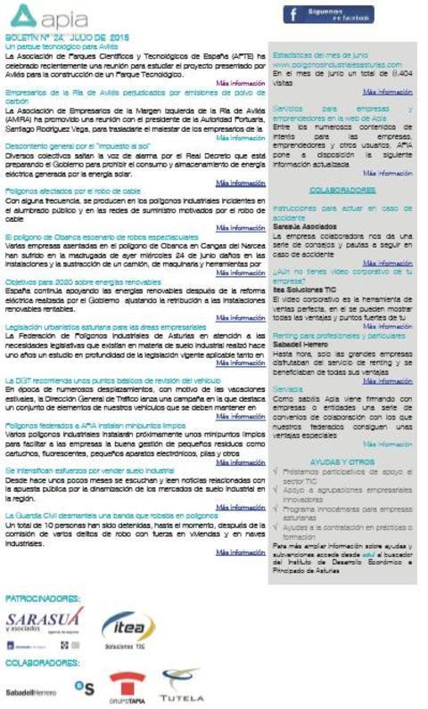 Federación de Polígonos Industriales de Asturias - Boletín nº 24 julio de 2015 - Federación de Polígonos Industriales de Asturias