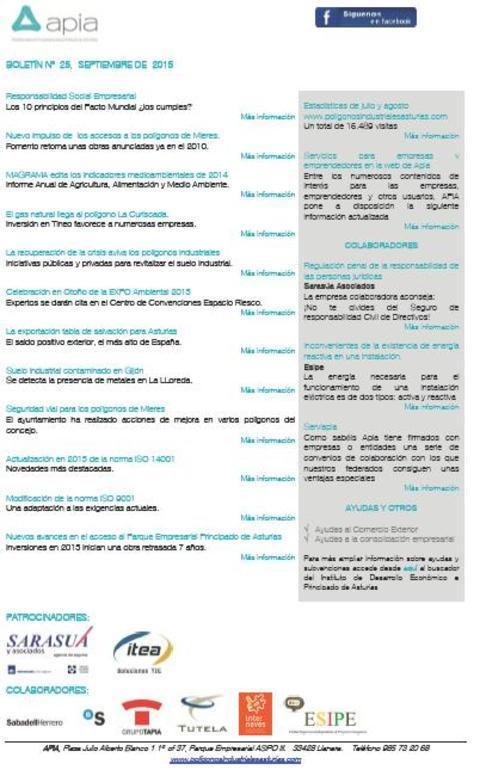 Federación de Polígonos Industriales de Asturias - Boletín nº 25 septiembre de 2015 - Federación de Polígonos Industriales de Asturias