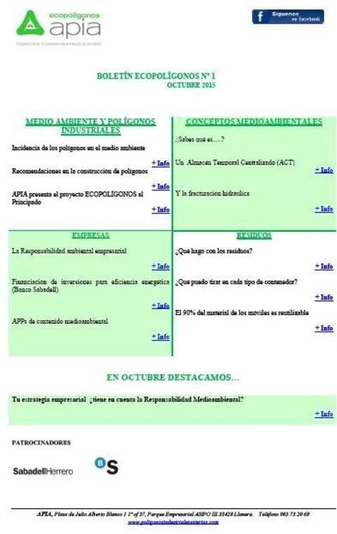 Federación de Polígonos Industriales de Asturias - Boletín Ecopolígonos nº 1 - Federación de Polígonos Industriales de Asturias