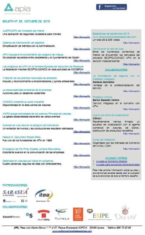 Federación de Polígonos Industriales de Asturias - Boletín nº 26 octubre de 2015 - Federación de Polígonos Industriales de Asturias