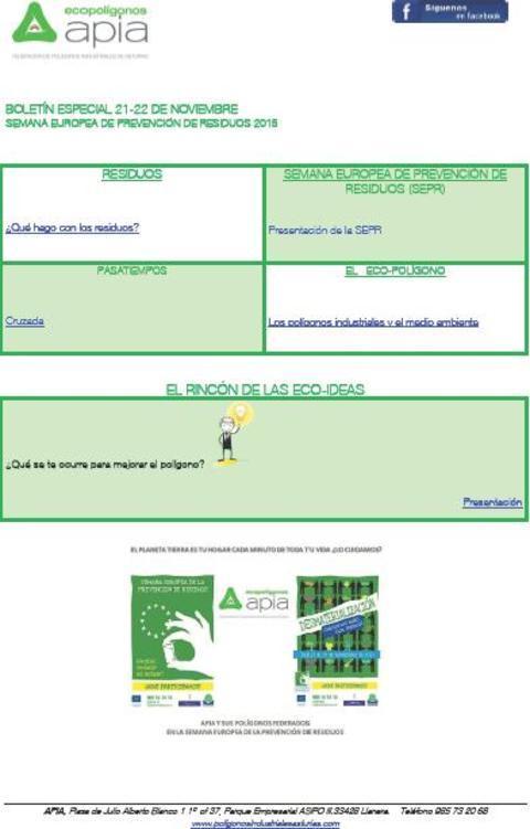 Federación de Polígonos Industriales de Asturias - Boletín 21 22 de Noviembre Semana Europea de Prevención de Residuos 2015 - Federación de Polígonos Industriales de Asturias
