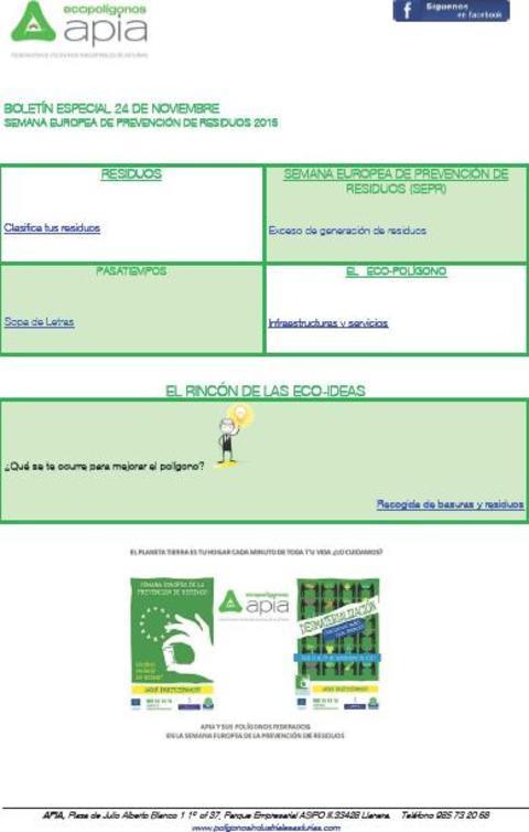 Federación de Polígonos Industriales de Asturias - Boletín 24 de Noviembre Semana Europea de Prevención de Residuos 2015 - Federación de Polígonos Industriales de Asturias
