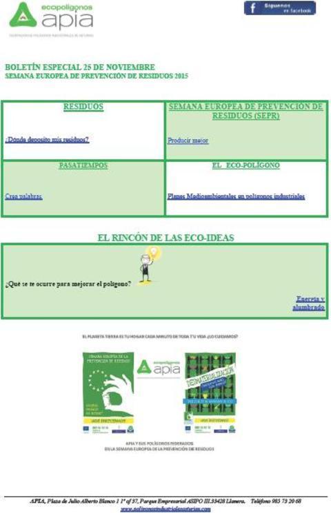 Federación de Polígonos Industriales de Asturias - Boletín 25 de Noviembre Semana Europea de Prevención de Residuos 2015 - Federación de Polígonos Industriales de Asturias