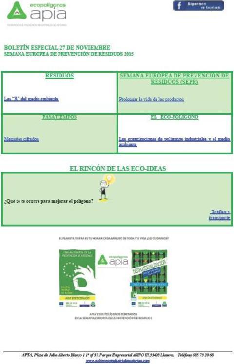 Federación de Polígonos Industriales de Asturias -   Boletín 27 de Noviembre Semana Europea de Prevención de Residuos 2015 - Federación de Polígonos Industriales de Asturias