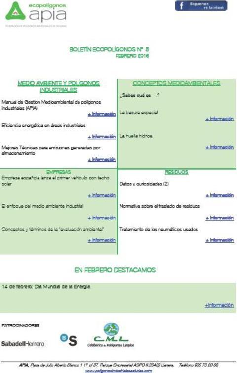 Federación de Polígonos Industriales de Asturias - Boletín Ecopolígonos nº 5 - Federación de Polígonos Industriales de Asturias