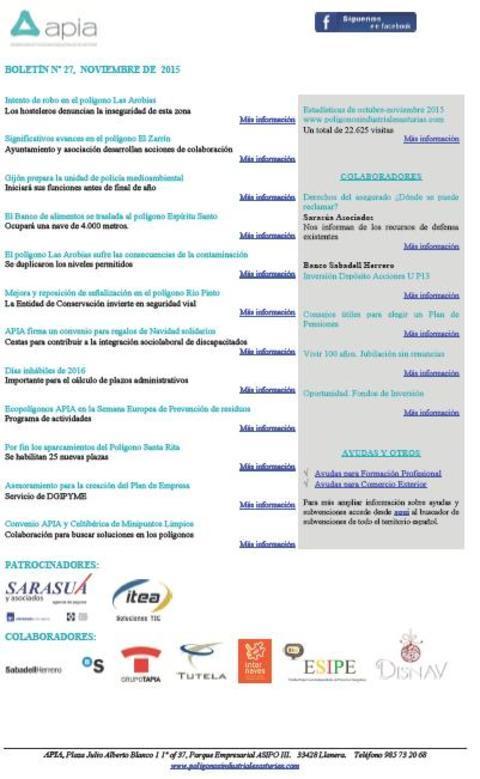 Federación de Polígonos Industriales de Asturias - Boletín nº 27 noviembre de 2015 - Federación de Polígonos Industriales de Asturias