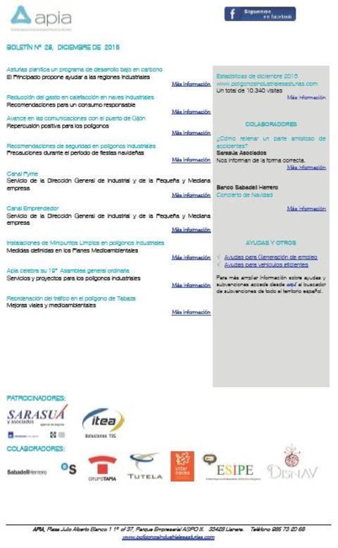 Federación de Polígonos Industriales de Asturias - Boletín nº 28 diciembre de 2015 - Federación de Polígonos Industriales de Asturias