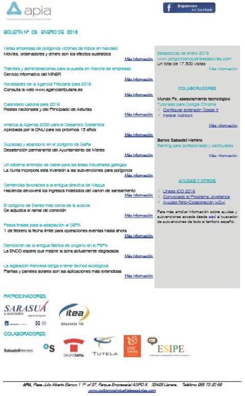 Federación de Polígonos Industriales de Asturias - Boletín nº 29 enero de 2016 - Federación de Polígonos Industriales de Asturias