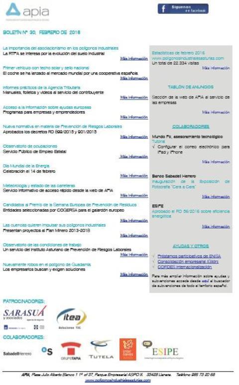Federación de Polígonos Industriales de Asturias - Boletín nº 30 febrero de 2016 - Federación de Polígonos Industriales de Asturias
