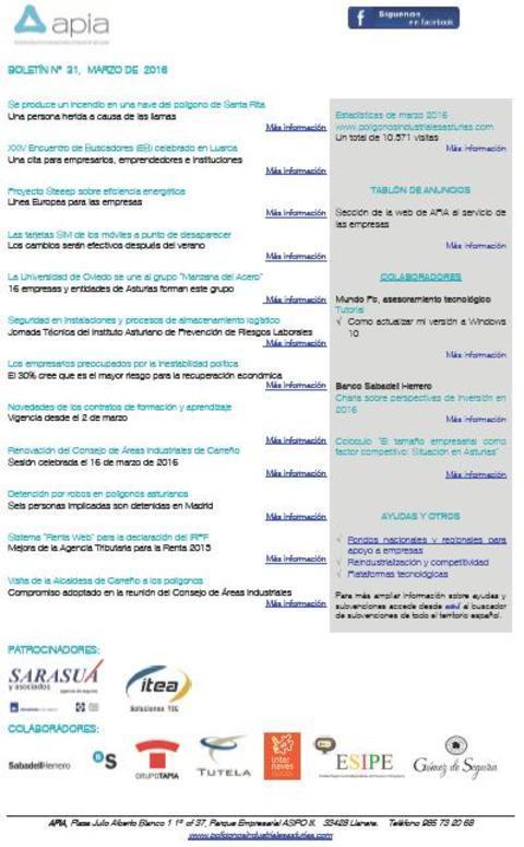 Federación de Polígonos Industriales de Asturias - Boletín nº 31 marzo de 2016 - Federación de Polígonos Industriales de Asturias