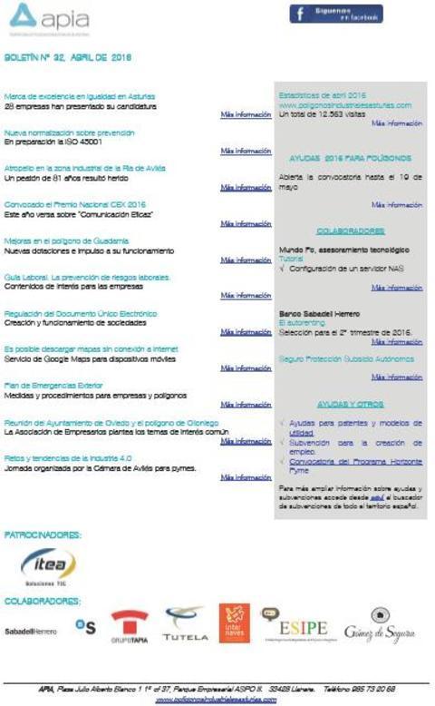 Federación de Polígonos Industriales de Asturias -  Boletín nº 32 abril de 2016 - Federación de Polígonos Industriales de Asturias