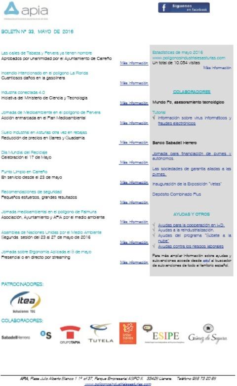 Federación de Polígonos Industriales de Asturias - Boletín nº 33 mayo de 2016 - Federación de Polígonos Industriales de Asturias