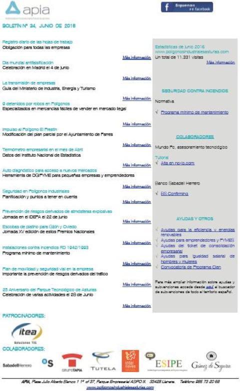 Federación de Polígonos Industriales de Asturias - Boletín nº 34 junio de 2016 - Federación de Polígonos Industriales de Asturias
