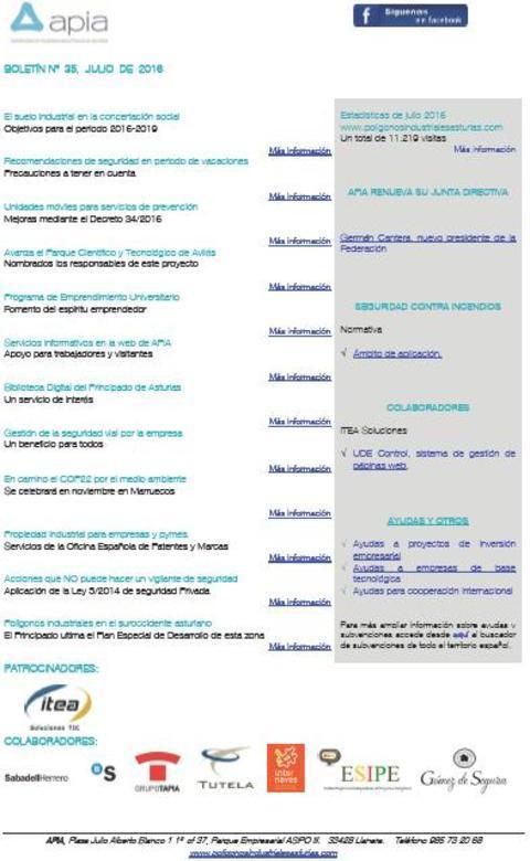 Federación de Polígonos Industriales de Asturias - Boletín nº 35 julio de 2016 - Federación de Polígonos Industriales de Asturias