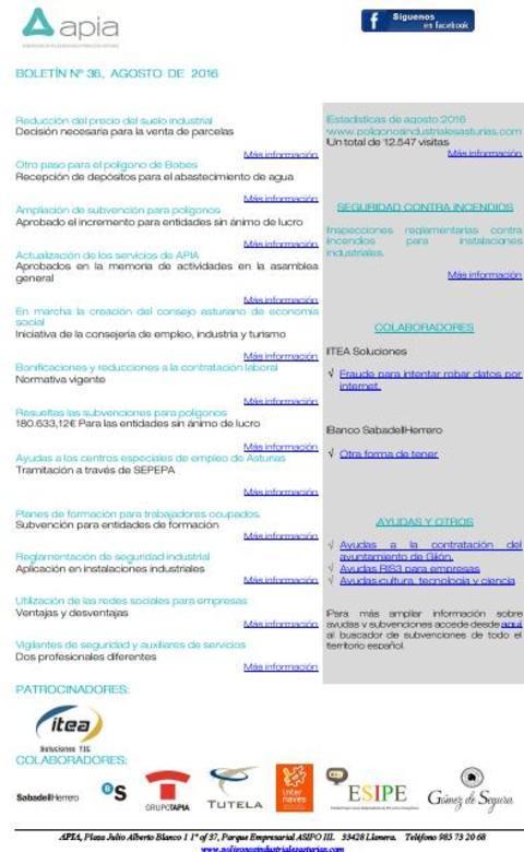Federación de Polígonos Industriales de Asturias - Boletín nº 36, agosto 2016 - Federación de Polígonos Industriales de Asturias