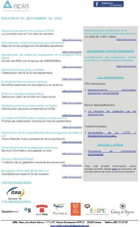 Federación de Polígonos Industriales de Asturias - Boletín nº 37, septiembre 2016 - Federación de Polígonos Industriales de Asturias